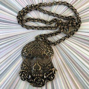 Antique Brass Sugar Skull necklace